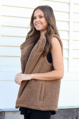 Sherpa Vest in Mocha Side View