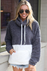 Charcoal - Model wearing the Sherpa Cowl Neck Pullover with sunglasses