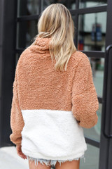 Sherpa Cowl Neck Pullover in Mocha Back View
