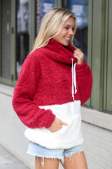 Sherpa Cowl Neck Pullover in Burgundy Side View