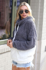 Sherpa Cowl Neck Pullover in Charcoal Side View