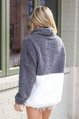 Sherpa Cowl Neck Pullover in Charcoal Back View