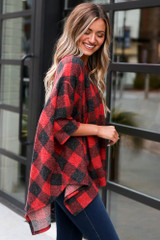 Buffalo Plaid Brushed Knit Oversized Top Side View