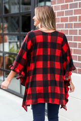 Buffalo Plaid Ruffle Sleeve Cardigan in Red Back View