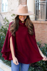 Burgundy - Brushed Knit Cowl Neck Oversized Poncho from Dress Up Boutique. Wide Brim Fedora Hat in tan.