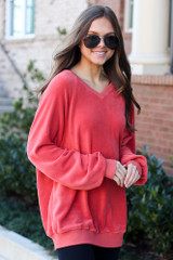 Coral - Oversized Fuzzy Knit Pullover from Dress Up