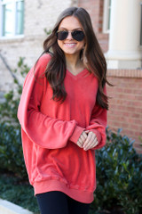 Dress Up model wearing the Oversized Fuzzy Knit Pullover in Coral