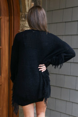 Fringe Knit Longline Cardigan in Black Back View