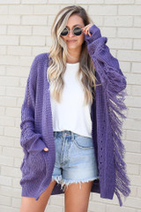 Purple - Fringe Knit Longline Cardigan Close Up