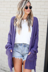 Purple - Fringe Knit Longline Cardigan Front View