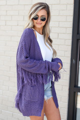 Fringe Knit Longline Cardigan in Purple Side View