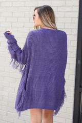 Fringe Knit Longline Cardigan in Purple Back View