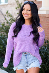 Lilac - Model wearing the Plush Knit Sweater