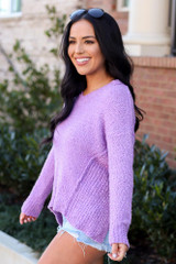 Lilac - Plush Knit Sweater Side View