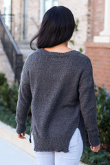 Grey - Plush Knit Sweater Back View