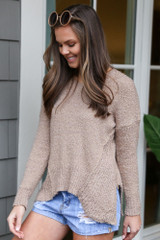 Camel - Plush Knit Sweater Side View