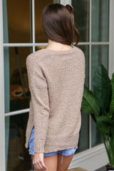 Plush Knit Sweater in Camel Back View