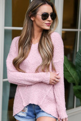 Blush - Plush Knit Sweater Front View