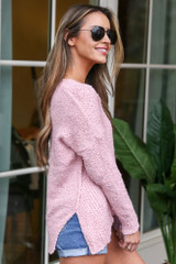 Plush Knit Sweater in Blush Side View