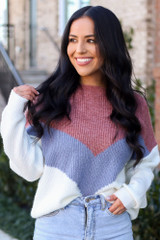 Mauve - Color Block Sweater from ShopDressUp