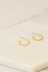 Gold - Ball Textured Mini Hoop Earrings from Dress Up