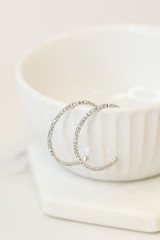 Silver - Close Up of the Rhinestone Chain Hoop Earrings from Dress Up