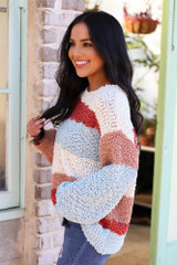 Blue - Striped Popcorn Knit Sweater in Blue Side View