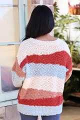 Striped Popcorn Knit Sweater in Blue Back View