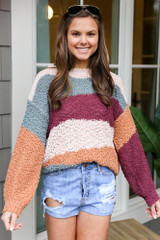 Striped Popcorn Knit Sweater in Purple Front View