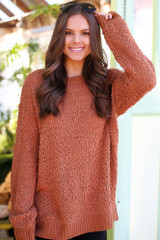 Rust - Popcorn Knit Oversized Top from Dress Up