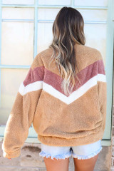 Chevron Fuzzy Knit Oversized Pullover Back View