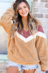 Model wearing the Chevron Fuzzy Knit Oversized Pullover