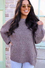 Mocha - Balloon Sleeve Oversized Knit Top from Dress Up