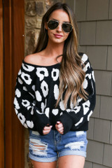 Black - Leopard Cropped Luxe Knit Top
