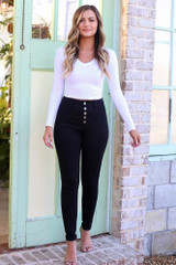 Dress Up model wearing the High-Rise Skinny Jeans in Black
