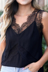 Model wearing the Black Lace Tank from Dress Up Boutique Close Up Front View