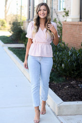 Model wearing the Blush Puff Sleeve Metallic Blouse from Dress Up Front View