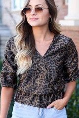 Leopard - Draped Sleeve Leopard Blouse from ShopDressUp
