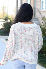 Model wearing the Ivory Confetti Metallic Eyelash Knit Oversized Sweater with high rise jeans from ShopDressUp Back View