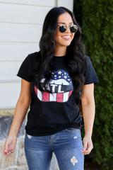 Model wearing the Atlanta Graphic Tee with high rise jeans from Dress Up Front View