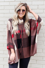 Cowl Neck Plaid Oversized Top from Dress Up boutique