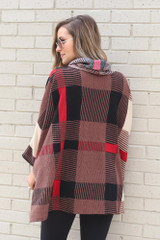 Cowl Neck Plaid Oversized Top Back View