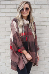 Cowl Neck Plaid Oversized Top from shopdressup