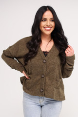 Olive - Cropped Cardigan Sweater