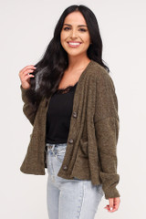 Cropped Cardigan Sweater in Olive Side View