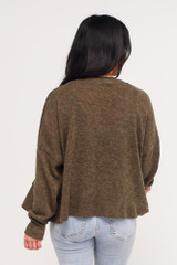 Cropped Cardigan Sweater in Olive Back View