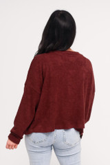 Cropped Cardigan Sweater in Burgundy Back View