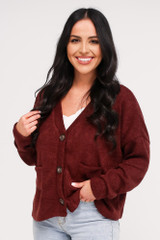 Dress Up model wearing the Cropped Cardigan Sweater in Burgundy buttoned up