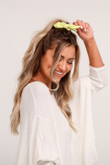 Model wearing the Citrus Tie Scrunchie