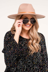 Model wearing the Polarized Aviator Sunglasses in Gold
